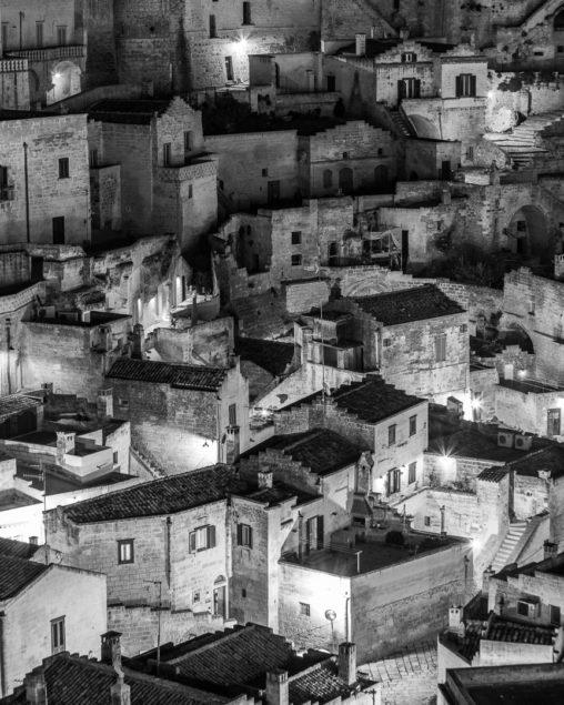 Vicoli di Matera in bianco e nero